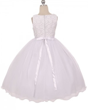 White Tulle Scoop Lace Bodice First Communion Dress with Bowknot FC0012