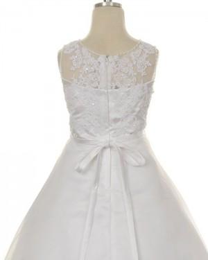 Appliqued Tulle Jewel Neck Tea Length Girl Dress FC0013