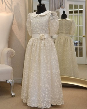 Lace High Neck White Girl Dress with Half Length Sleeves FC0014