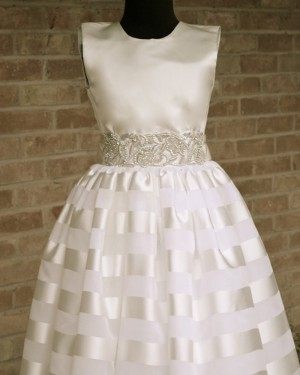 Satin Beading Appliqued High Neck First Communion Dress FC0015