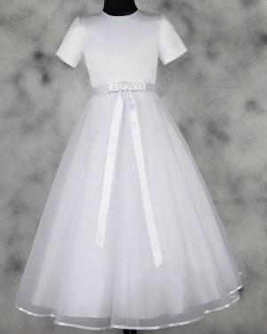 White Satin & Tulle High Neck Tea Length First Communion Dress FC0016