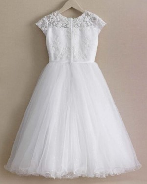 Appliqued Bodice White Jewel Girl Dress with Sparkle Skirt FC0017