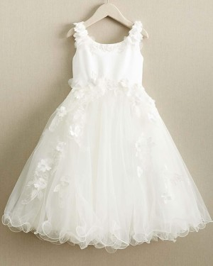 White Scoop Girl Dress with Handmade Flowers FC0019