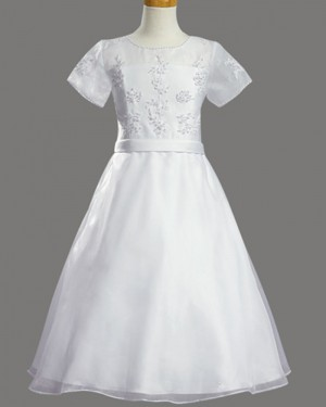 White Tulle Beading First Communion Dress with Short Sleeves FC0020