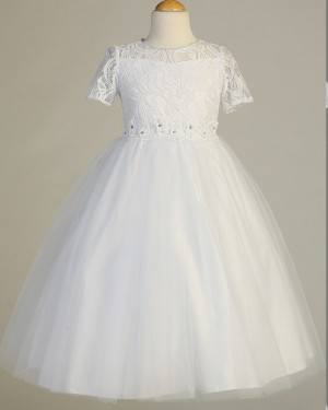 High Neck Lace Bodice Tulle Girl Dress with Handmade Flowers FC0021