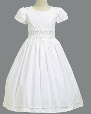 White Satin Jewel Neck Appliqued First Communion Dress with Short Sleeves FC0022