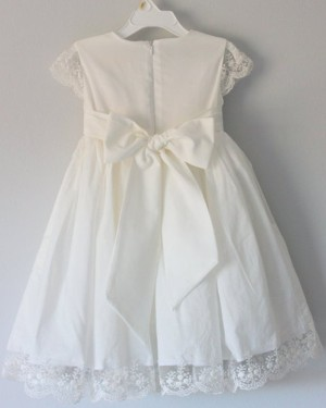 Jewel White Satin Girl Dress with Lace Appliques FC0025