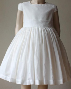 High Neck Tulle Pleated Girl Dress with Cap Sleeves FC0026