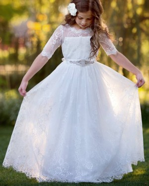 White Lace First Communion Dress with Beading Belt FC0028