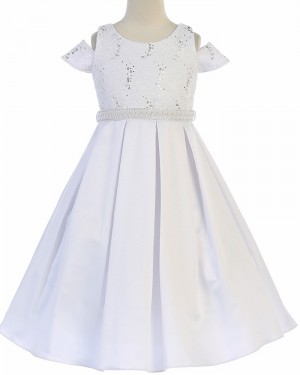 Cold Shoulder Satin Sparkle Beading First Communion Dress FC0030