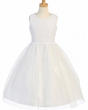 White Jewel Lace Bodice First Communion Dress with Tulle Skirt FC0031