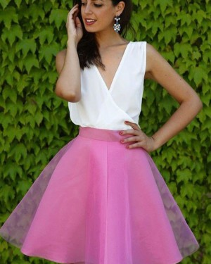 White and Blush V-neck Tulle Short Party Dress HD3349
