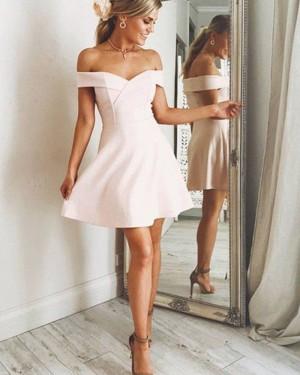 Off the Shoulder Pearl Pink Satin Graduation Dress HD3350