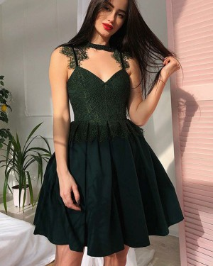 High Neck Lace Bodice Black Pleated Homecoming Dress HD3352