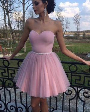 Simple Sweetheart Neckline Pleated Tulle Homecoming Dress with Beading Belt HD3353