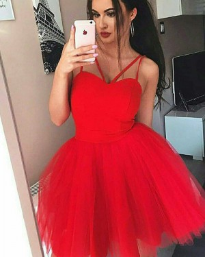 Simple Red Double Spaghetti Straps Homecoming Dress HD3354