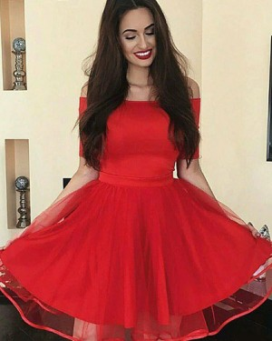 Simple Off the Shoulder Red Satin Homecoming Dress with Short Sleeves HD3355
