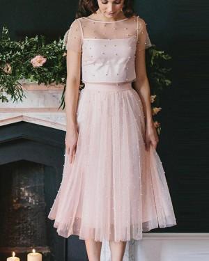 Jewel Two Piece Knee Length Pink Tulle Sleeved Graduation Dress HD3356