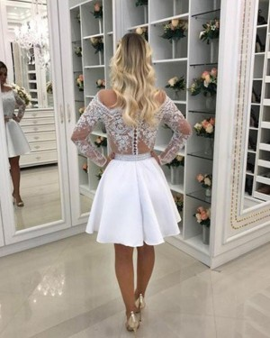Appliqued Bodice Chiffon White Lace Homecoming Dress with Long Sleeves HD3359