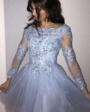 Bateau Neckline Appliqued Bodice Light Blue Homecoming Dress with Long Sleeves HD3360