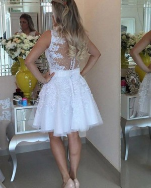 White Beading Appliqued Round Neck Homecoming Dress HD3361