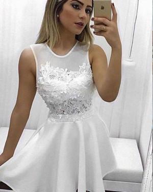 White High Neck Appliqued Chiffon A-line Homecoming Dress HD3362