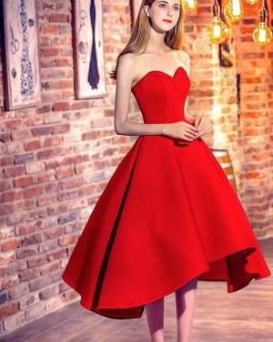 High Low Sweetheart Red Satin Short Formal Dress HD3376
