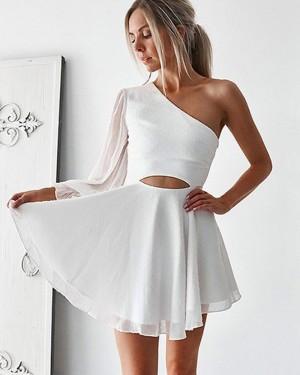 White Cutout One Shoulder Chiffon Homecoming Dress with Long Sleeve HD3379