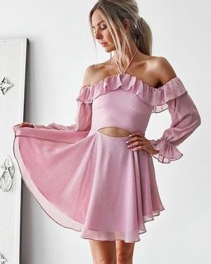 Halter Chiffon Lavender Cutout Short Homecoming Dress with Long Sleeves HD3380