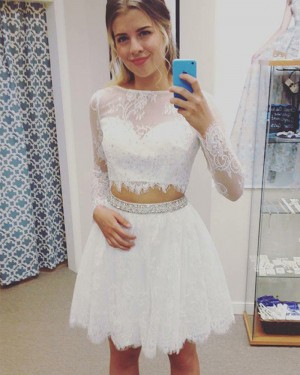 Jewel White Two Piece Lace Homecoming Dress with Long Sleeves HD3381