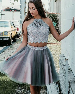 Halter Neckline Two Piece Lace Bodice Pink and Grey Homecoming Dress HD3384