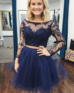 Two Piece Embroidery Navy Blue Beading Homecoming Dress with Long Sleeves HD3387