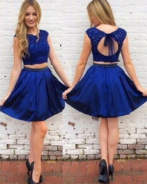 Two Piece Satin Royal Blue Lace Bodice Homecoming Dress HD3389