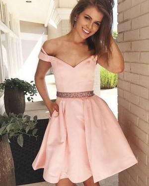 Pink V-neck Satin Homecoming Dress with Pockets HD3397