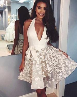 White Halter Homecoming Dress with Handmade Flowers HD3398