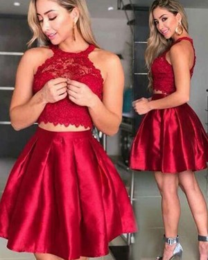 Two Piece Red Satin Halter Lace Bodice Homecoming Dress HD3402