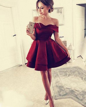 Simple Red Off the Shoulder Satin Layered Homecoming Dress HD3405