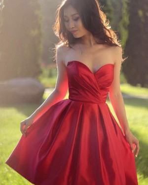 Simple Satin Sweetheart Ruched Homecoming Dress HD3406