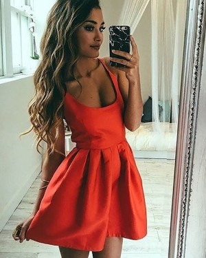 Red Square Satin Pleated Simple Homecoming Dress HD3409