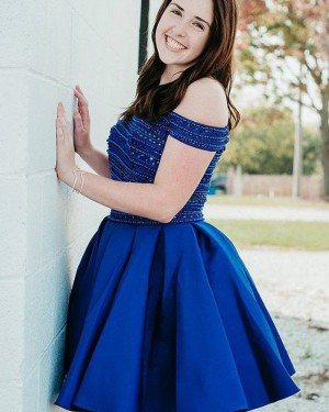 Blue Beading Two Piece Pleated Homecoming Dress HD3410