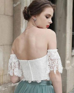 White Lace Bodice Homecoming Dress with Grey Skirt HD3412