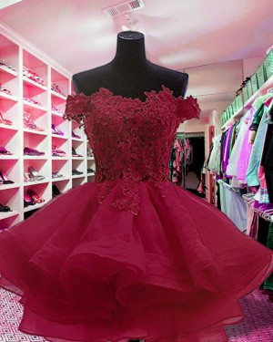 Red Off the Shoulder Appliqued & Ruffled Homecoming Dress HD3414