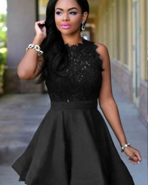 High Neck Black Lace Bodice Homecoming Dress HD3415