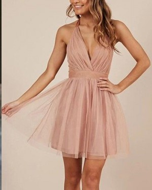 Blush Pink Tulle Ruched Halter Simple Party Dress HD3416