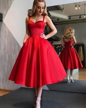 Simple Tea Length Red Satin Square Graduation Dress with Pockets HD3417