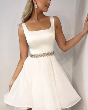 Simple White Square Satin Homecoming Dress HD3418