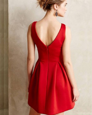 Simple Red Cutout Satin Square Neck Short Formal Dress HD3421