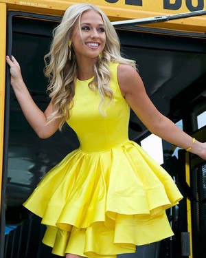 High Neck Pleated Yellow Layered Short Formal Dress HD3422
