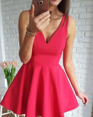 Simple Red Satin V-neck Homecoming Dress HD3425