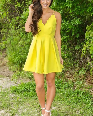 Simple Spaghetti Straps Yellow Pleated Homecoming Dress HD3426